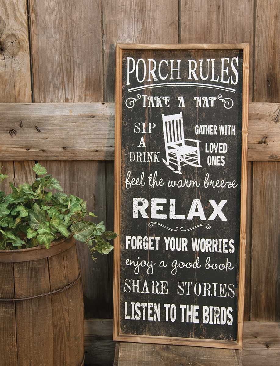 Accents Signs Amp Blocks Porch Rules Wooden Sign The