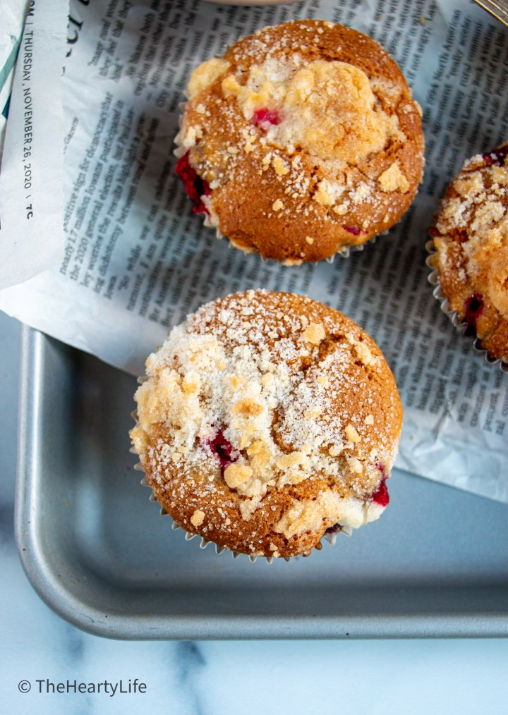 cranberry white chocolate streusel muffins