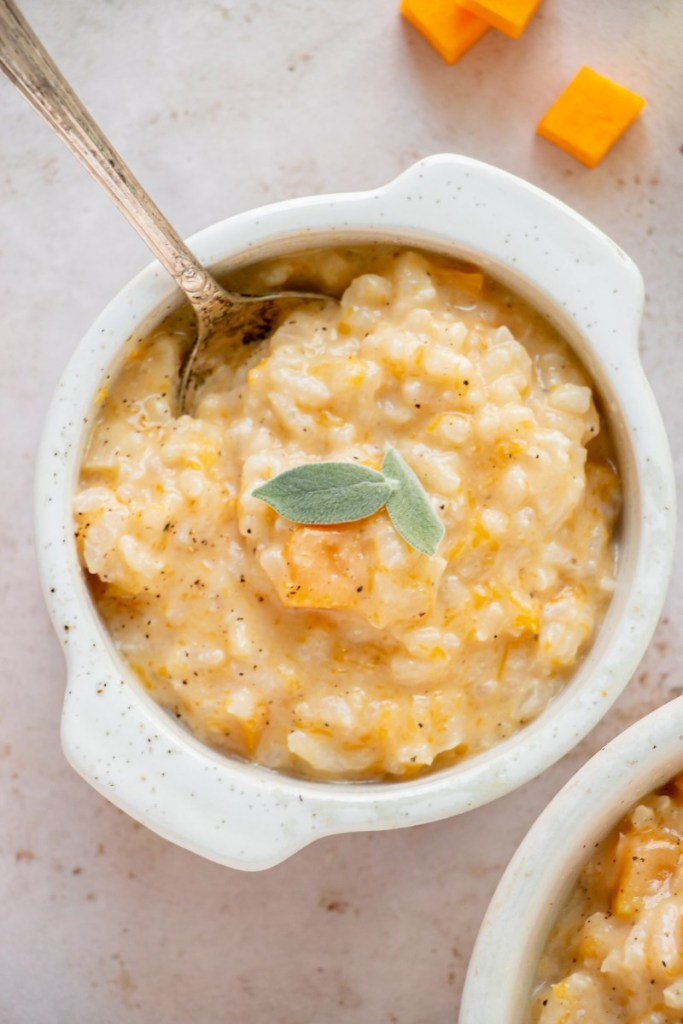 small bowl of risotto with spoon
