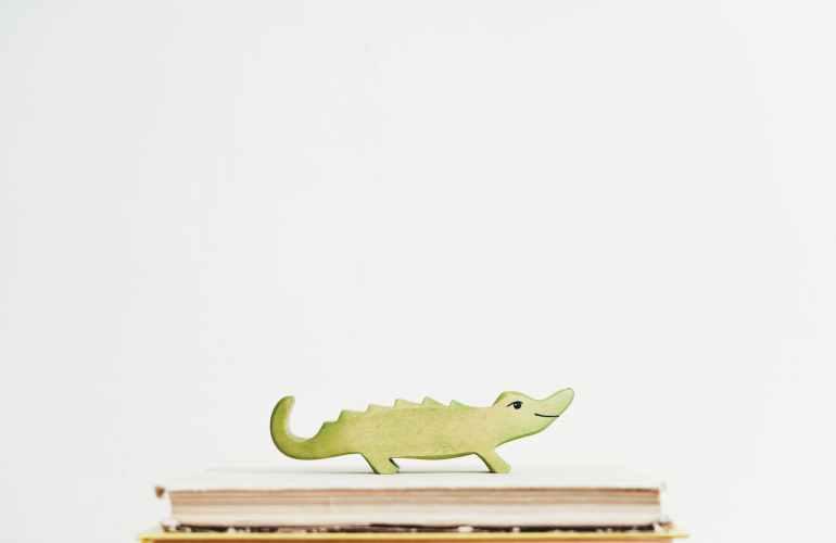 green crocodile on books