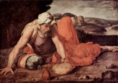 Elijah finds cake of bread Artist Daniele da Volterra 1509–1566 Wikipedia Public Domain