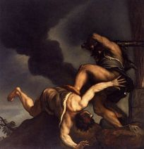 http://commons.wikimedia.org/wiki/File:Titian_-_Cain_and_Abel_-_WGA22778.jpg