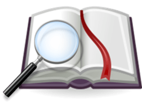 http://commons.wikimedia.org/wiki/Category:Magnifying_glass_on_book_icons