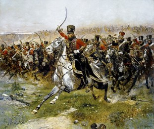 http://en.wikipedia.org/wiki/File:Detaille_4th_French_hussar_at_Friedland.jpg