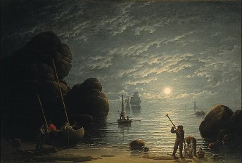 http://commons.wikimedia.org/wiki/File:Robert_Salmon_-_Moonlight_Coastal_Scene.jpg