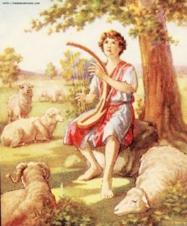 David Playing Harp www.thebiblerevival.com US public domain