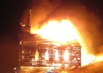 http://commons.wikimedia.org/wiki/File:Burning_Man_2013_Church_Trap,_Burning_down_(9660393320).jpg