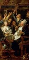 http://commons.wikimedia.org/wiki/File:Jacob_Jordaens_-_The_Feast_of_the_Bean_King_-_Google_Art_Project.jpg