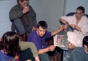 Photo: Paratroopers off duty, after a rave somewhere in the South of east England, in someones living room smoking copies amounts of weed and hashish. 1992