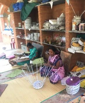 Women crafting baskets at Wellpaper