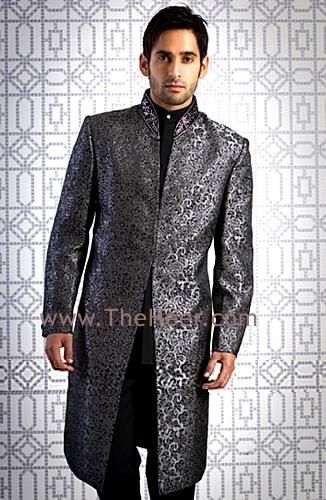 SW461 Dark Gray Jamawar Sherwani Sherwani For Men Wedding