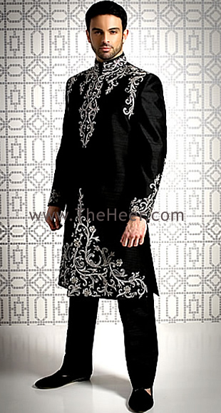 SW459 Black Raw Silk Sherwani Sherwani For Men Wedding
