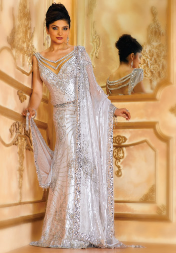 BW77 White Lehenga A White Crystal Ensemble An Fine Chamois Satin The Choli Skirt And Dupatta