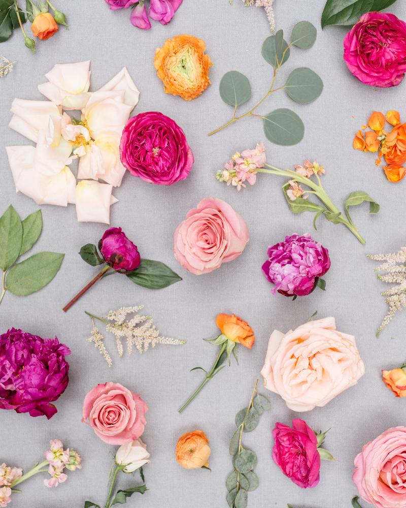 bright pink purple and orange wedding bouquet