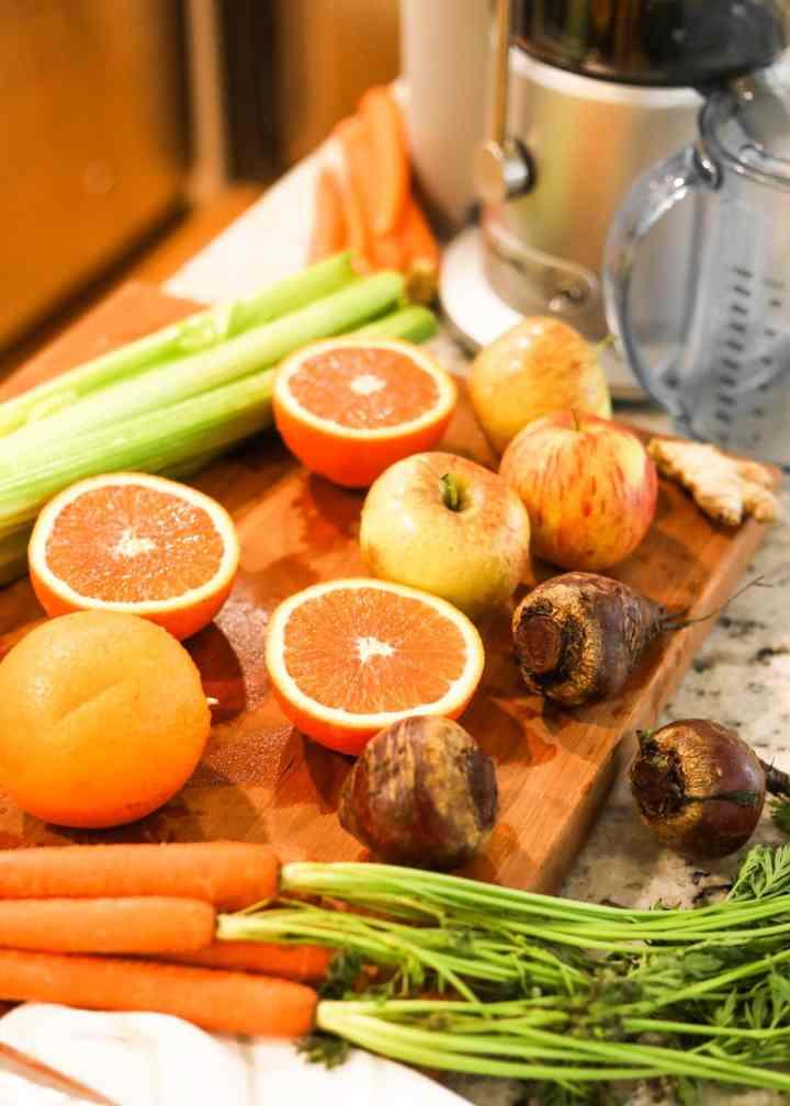 Immune Boosting Juice Ingredients with oranges, beets, carrots, celery