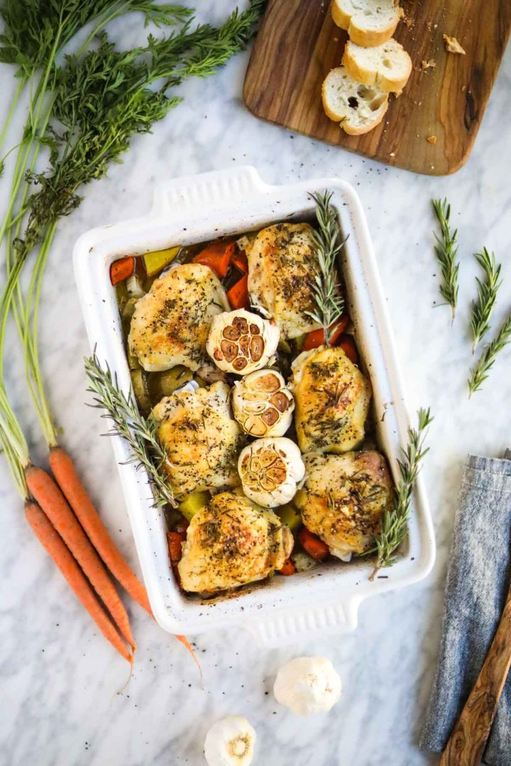 Roasted Chicken Thighs with Vegetables.
