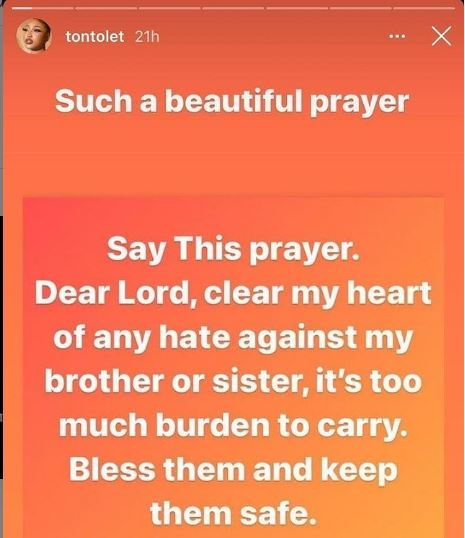 Clear my heart of any hate, it's too much burden to carry' – Nollywood actress Tonto Dikeh cries to God to heal her heart