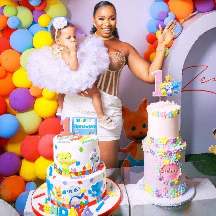 Celebrity BBN Couple, Teddy A and Bam Bam have shared photos from their daughter, Zendaya's first birthday(see photos)