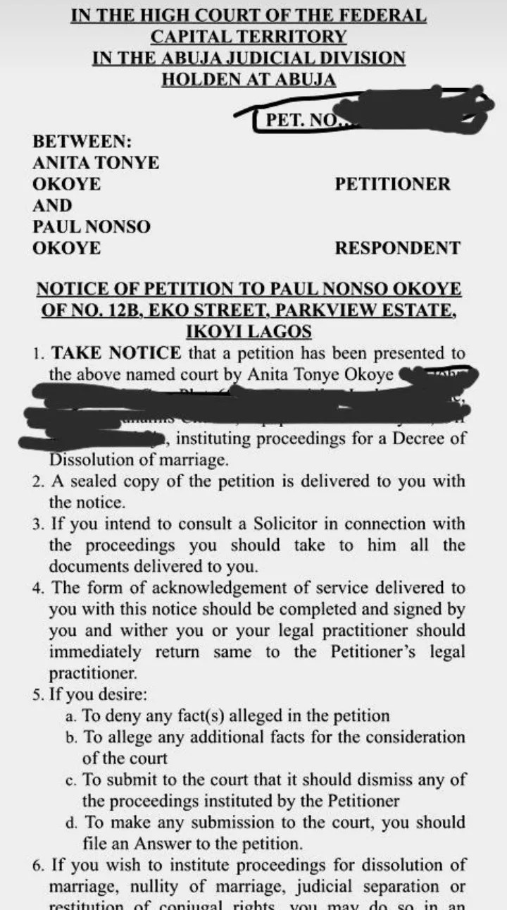 Paul Okoye's wife, Anita Okoye, files for divorce after 7 years of marriage and 17 years together.