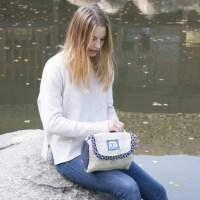 Trousse de toilette Chanvre beige et bleu | Bajura