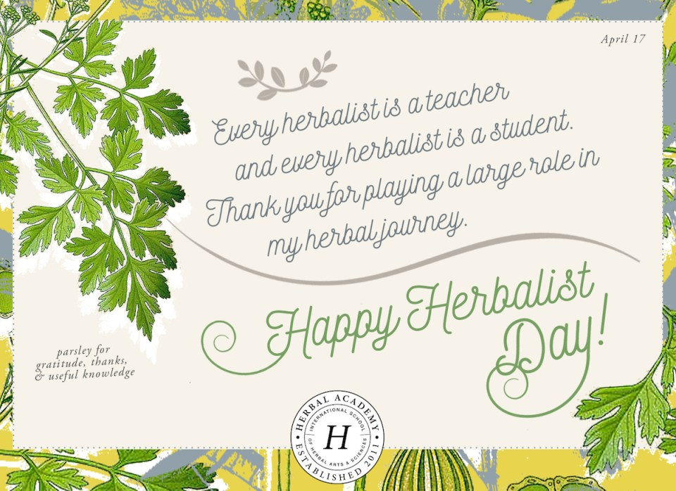 Celebrate herbalist day by honoring your teachers free card free happy thank an herbalist day card by herbal academy parsley for gratitude m4hsunfo