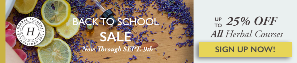 Aug 18 - Sept 9 25% off Herbal Courses for Back to School