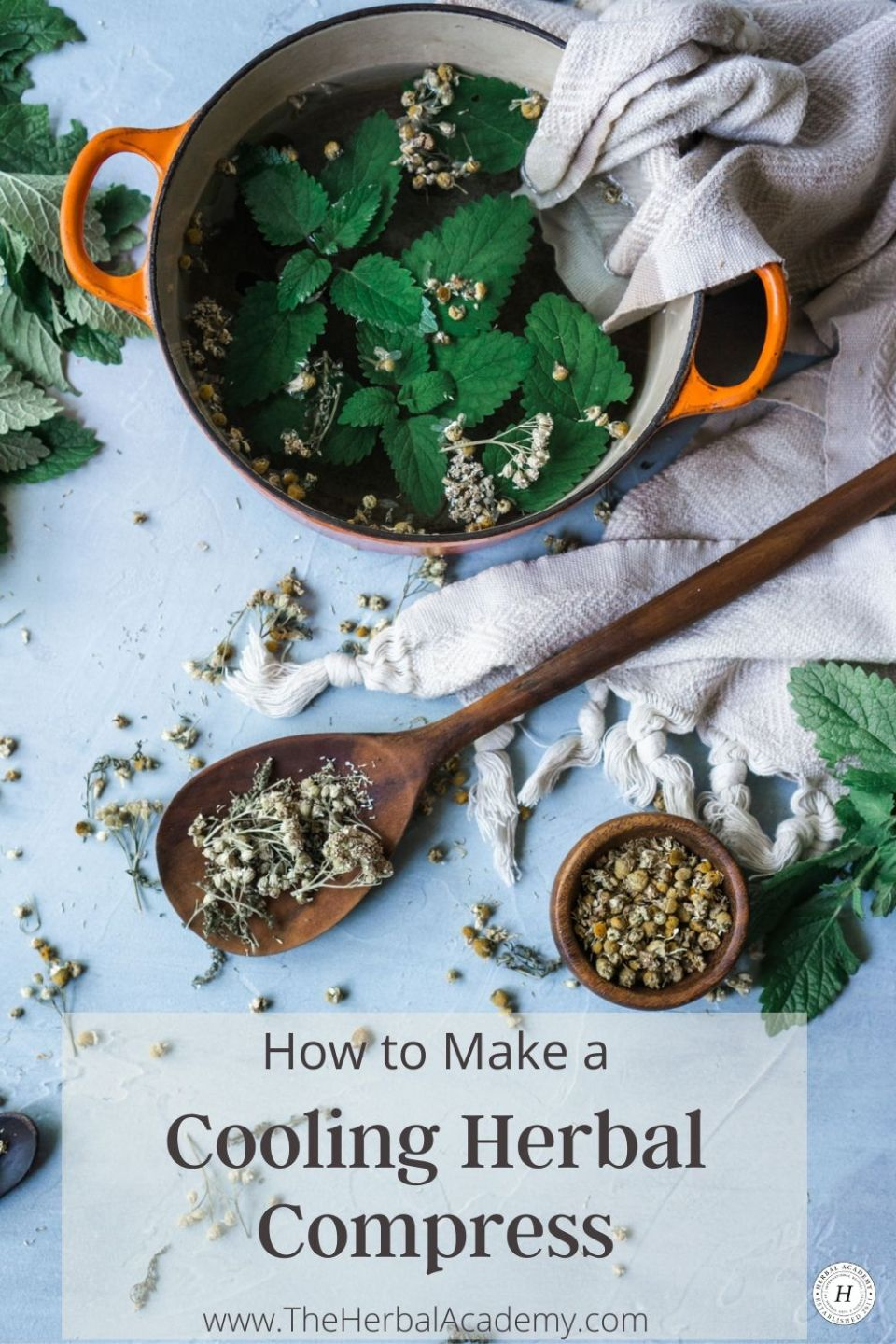 Try A Cooling Herbal Compress for Hot Summer Days | Herbal Academy | One way to keep the heat at bay while enjoying summer weather is to make a cooling herbal compress from herbs like peppermint, yarrow, and chamomile.