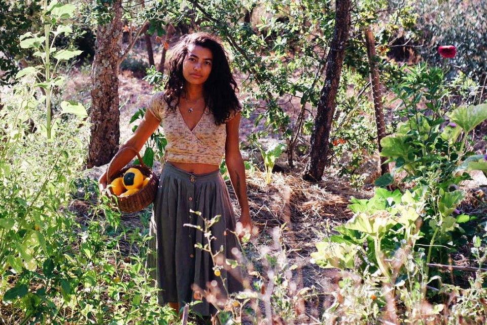 Cat Seixas in her garden