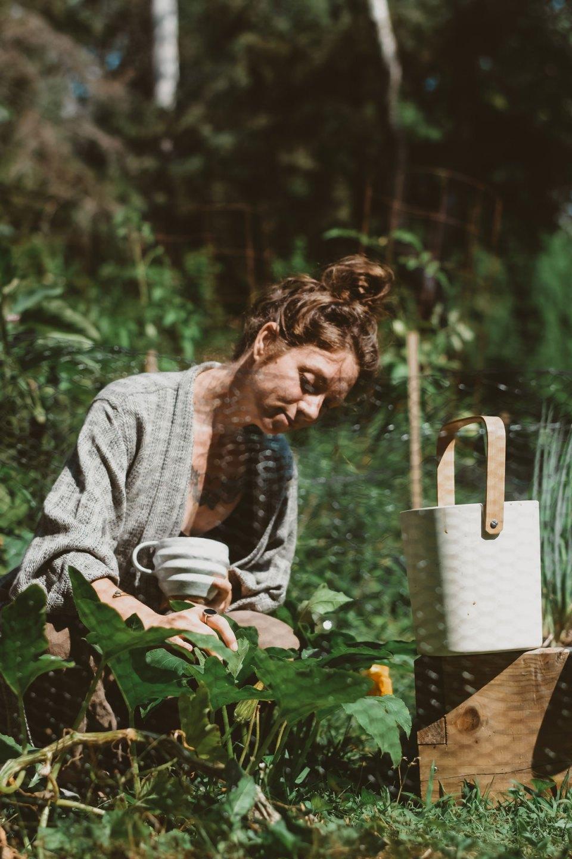 Ashley york working in her garden