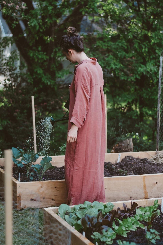 Ashley York working in garden