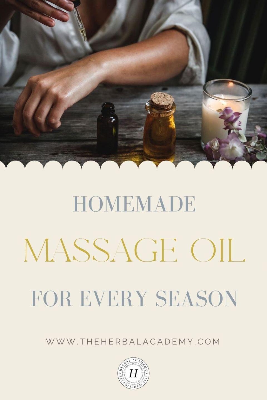 homemade massage oil Pinterest graphic