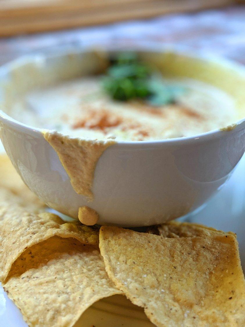 tahini queso dip recipe vegan plant based queso with tahini vegan white queso recipe