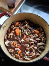 gluten free Mushroom Bourguignon Recipe with red wine mushroom stew vegan fresh recipes with carrots root vegetable buirguignon at home plant based