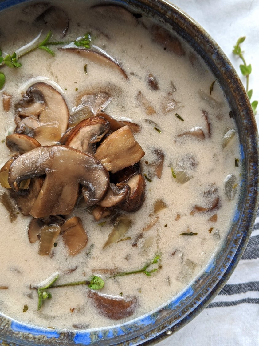 gluten free cream of mushroom soup homemade vegan coconut cream of mushroom stew recipe healthy holiday ingredient green bean casserole