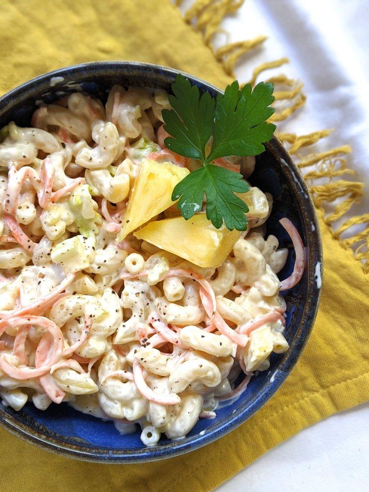 vegan hawaiian macaroni salad yogurt creamy