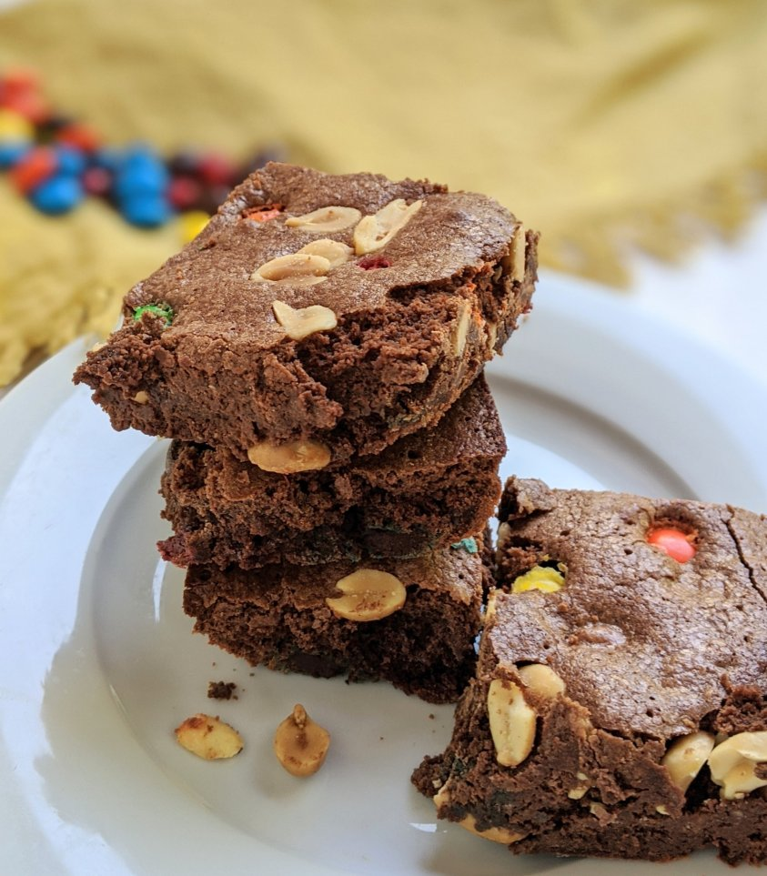 brownie stack with rainbow m&m candy brownies with peanuts nut and M&Ms recipes healthy brownies