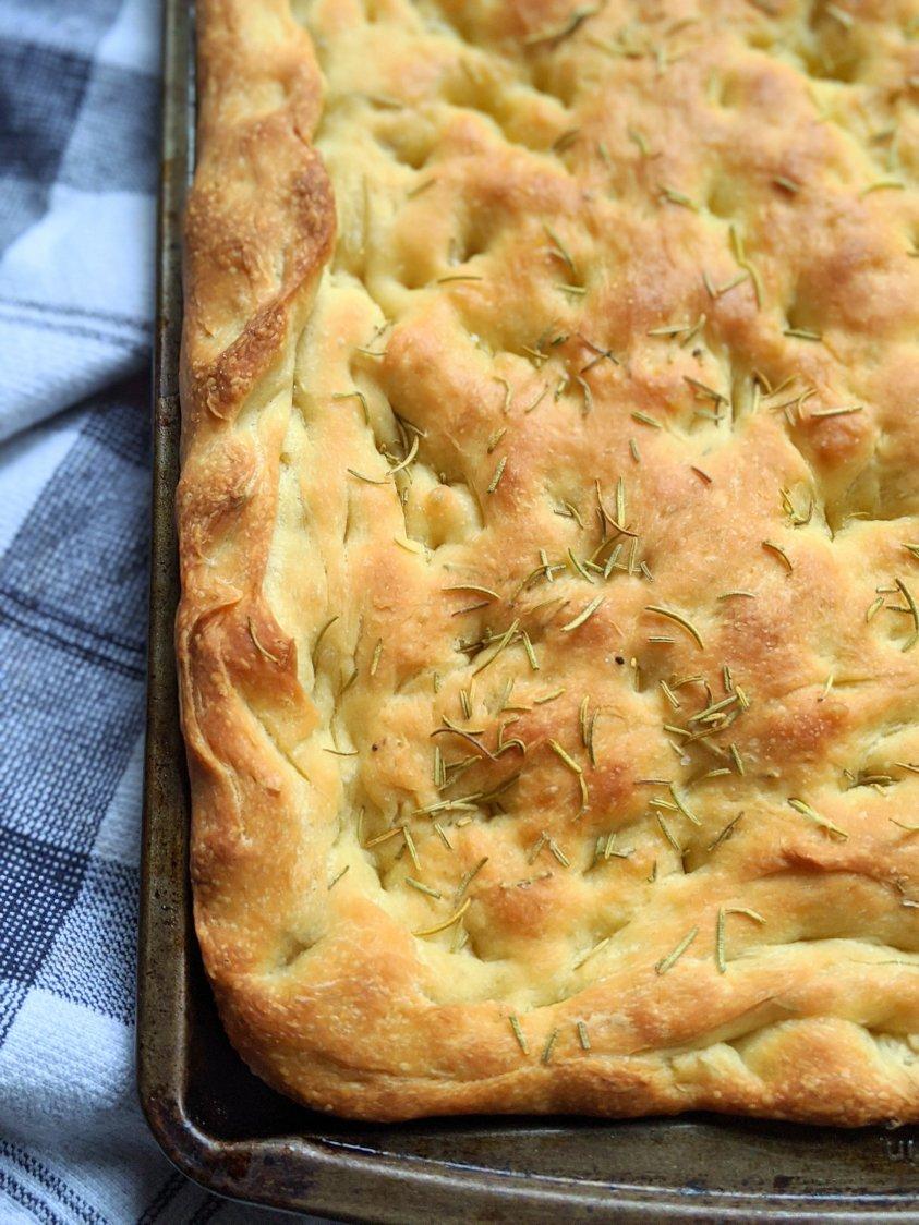 vegan olive oil rosemary focaccia bread recipe sheetpan breads homemade overnight no knead focaccia bread dough