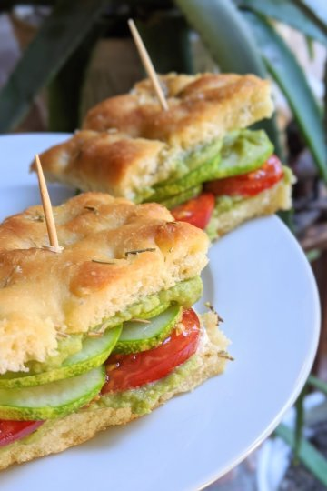 garden focaccia sandwich recipe with homemade green goddess hummus vegan vegetarian gluten free meatless meal ideas for summer sandwiches