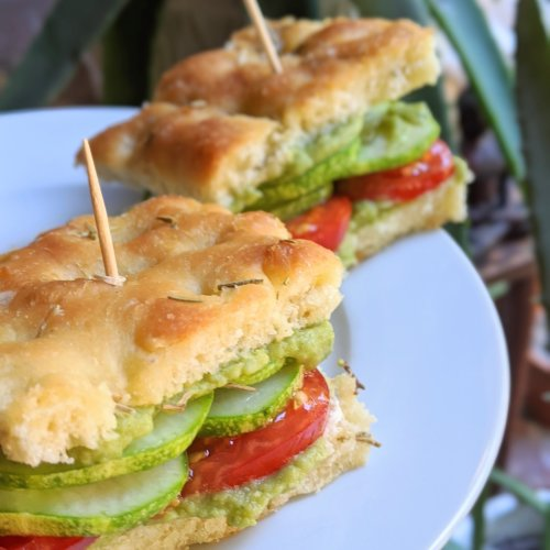 garden focaccia sandwich recipe with homemade green goddess hummus vegan vegetarian gluten free meatless meal ideas for summer sandwiches