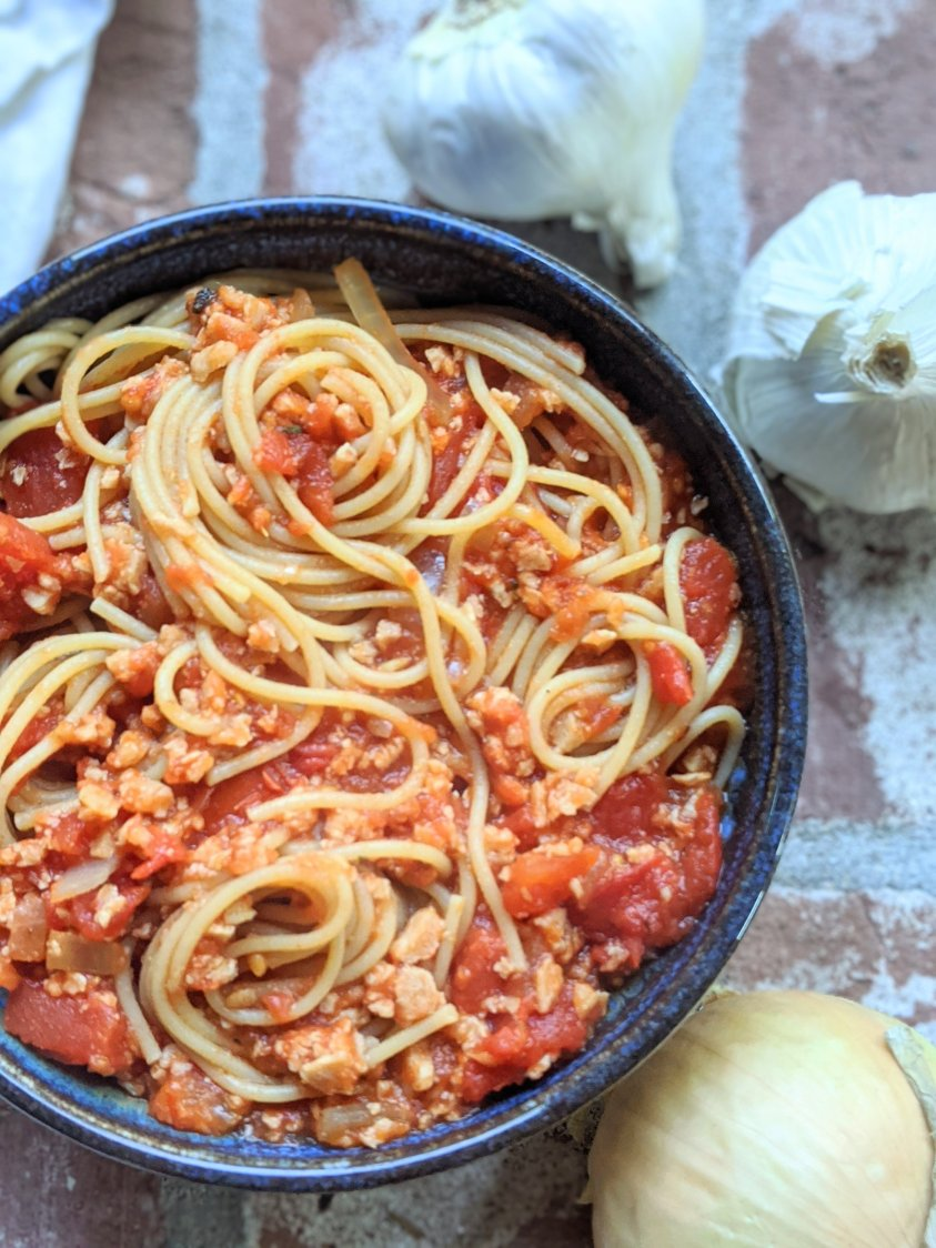 vegan meat sauce for pasta recipe bolognese meaty sauce vegetarian gluten free pasta bolognese spag bol recipe at home plant based protein tvp