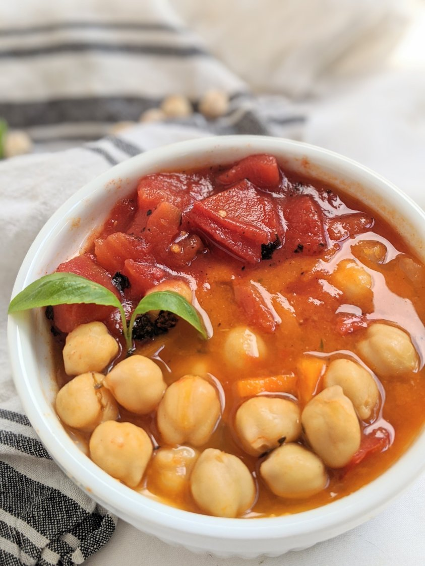 tomato basil curry vegan gluten free chickpeas garbanzo beans chana curry with tomatoes and basil vegan gluten free vegetarian meatless veganuary soup recipes