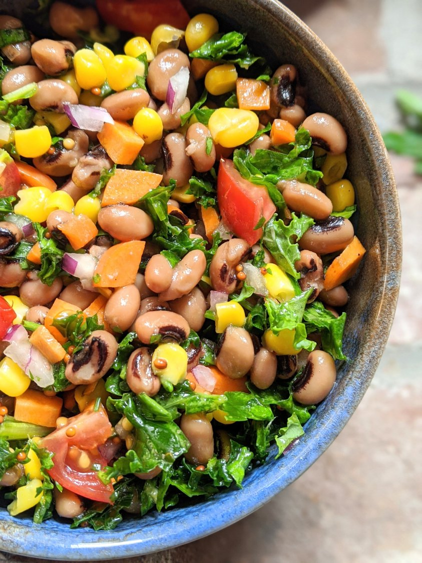 corn and kale salad with black eyed peas vegan southern salad recipes healthy summer potluck salads vegetarian high protein good luck salad for new years day