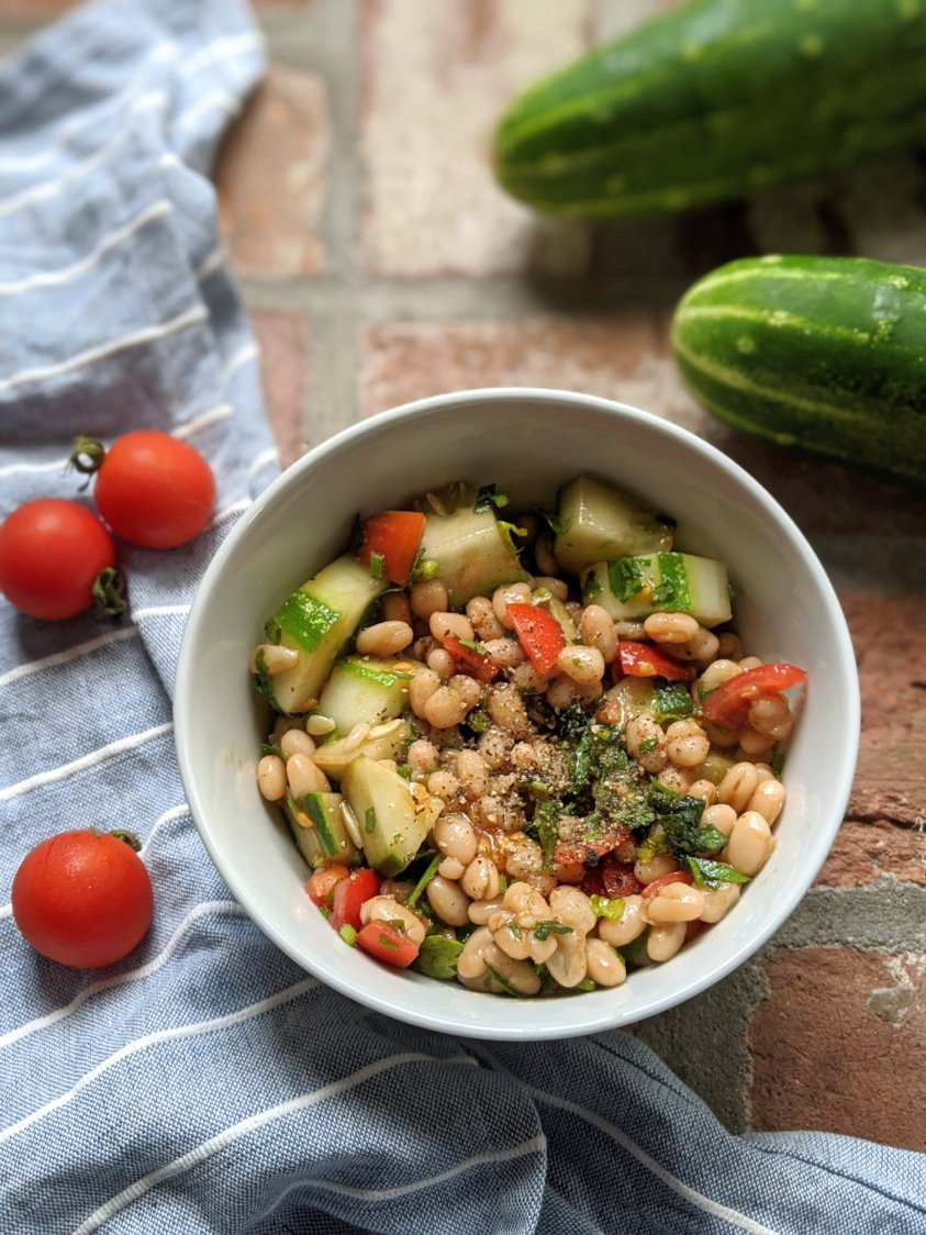 white bean and vegetable salad no cook summer recipes vegan gluten free vegetarian side dishes summer produce tomatoes and cucumbers from the garden
