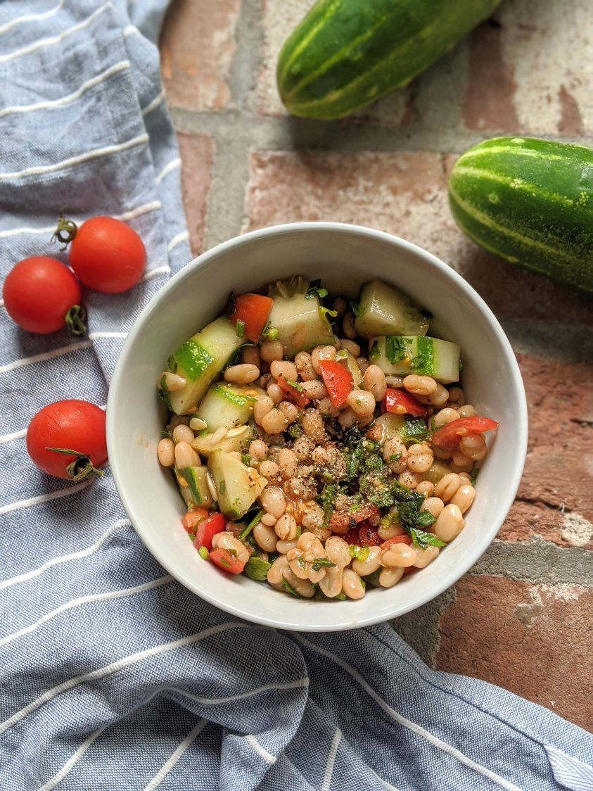 mediterranean white bean salad recipe vegan gluten free vegetarian plant based summer salads no cook recipes for summer