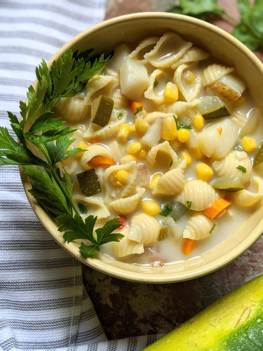 dairy free chowder recipe vegan tluten free vegetarian meatless corn and zucchini soup recipe with pasta no dairy garden vegetables