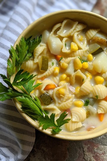 creamy corn and zucchini chowder recipe soup vegan recipes plant based gluten free soups healthy summer vegetable soup with pasta recipe