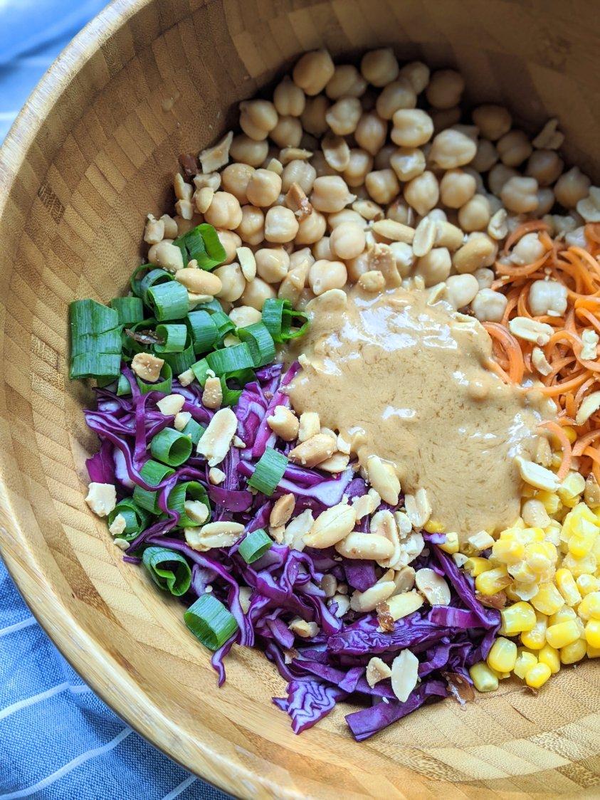 gluten free peanut salad dressing for thai chickpea salad vegan vegetarian meatless gluten free plant based easy no cook lunch ideas