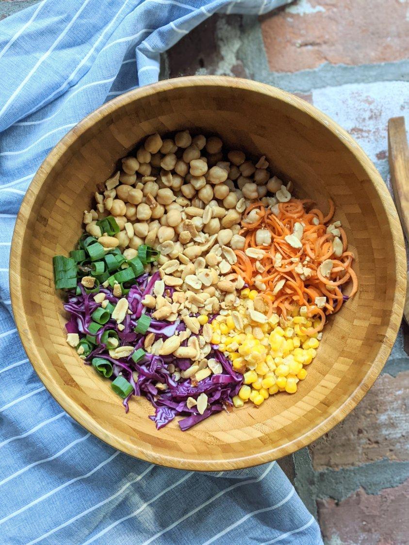 vegan chickpea salad with thai peanut sauce recipe healthy gluten free vegetarian vegan plant basead meatless lunch ideas