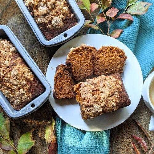 pumpkin spice bread vegan gluten free healthy fall breakfast recipe gluten free option dairy free egg free baking gifts