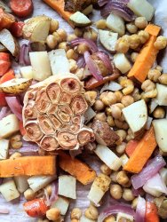 vegan sheet pan dinner recipe with chickpeas and root vegetables garlic